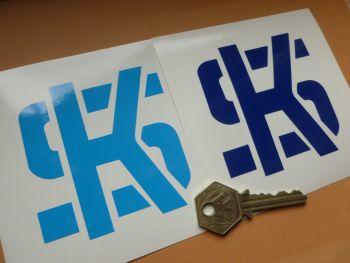 "KS Pistons Mid or Dark Blue Cut Vinyl Stickers. 3"" Pair."