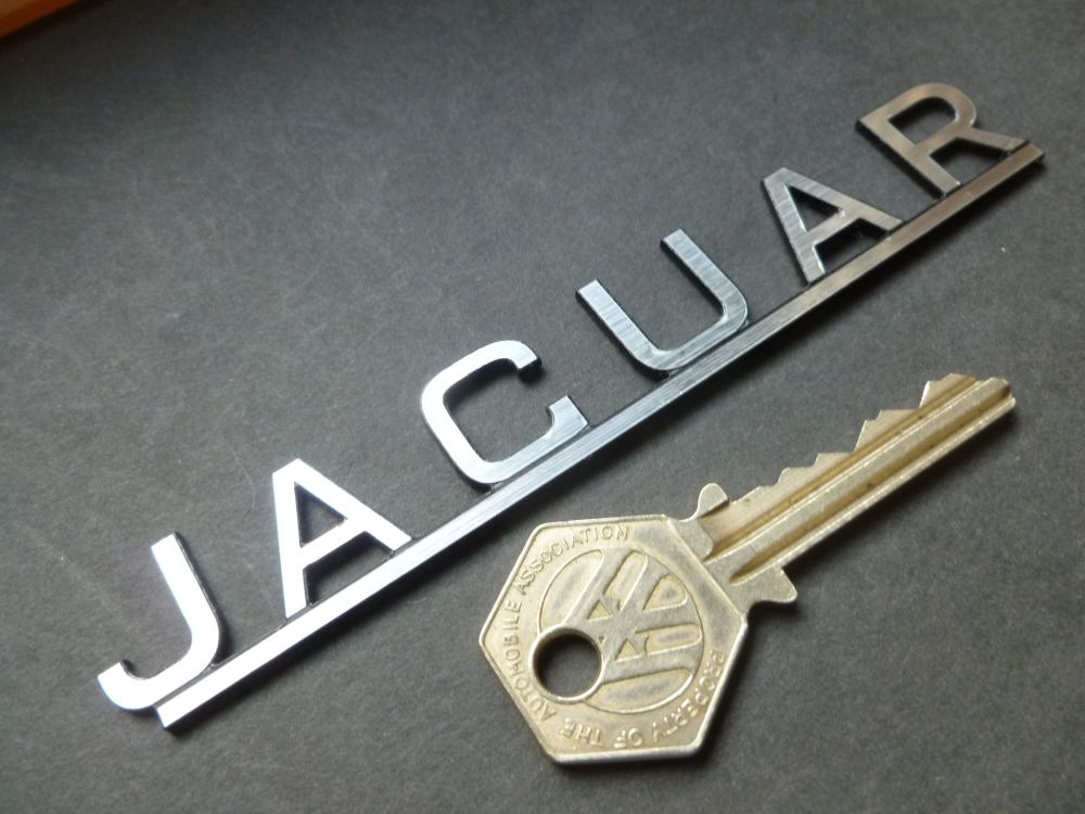 "Jaguar 50's & 60's Style Text on Bar Laser Cut Self Adhesive Car Badge. 5""."