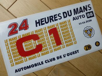 "24 Heures Du Mans LeMans Le Mans 1988 Car C1 Class Sticker. 12""."