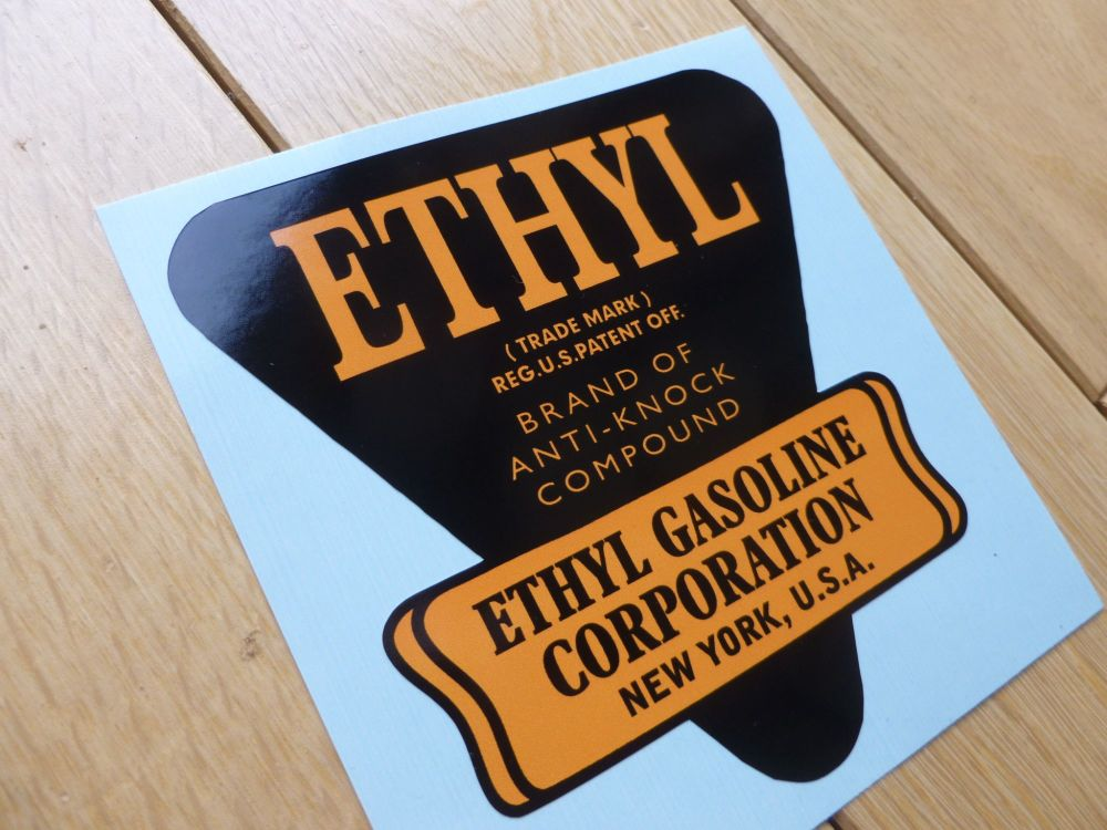 "Ethyl Old Style Black & Orange Gasoline Shaped Sticker. 4""."
