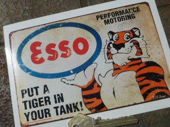 "Esso Put A Tiger In Your Tank Distressed Style Sticker. 5.75""."