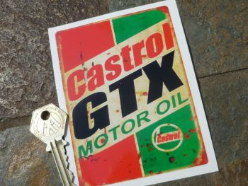 "Castrol GTX Motor Oil Distressed Style Sticker. 4.25""."