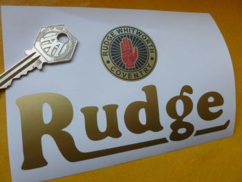 "Rudge Whitworth Coventry Logo & Text Sticker. 5.5""."