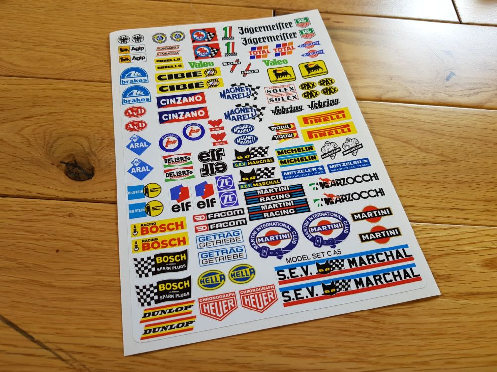 Model Racing Slot Car Sticker Set C. Mainly European.