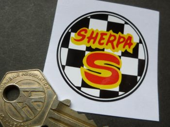 Bultaco Sherpa S Chequered Circular Sticker. 45mm.