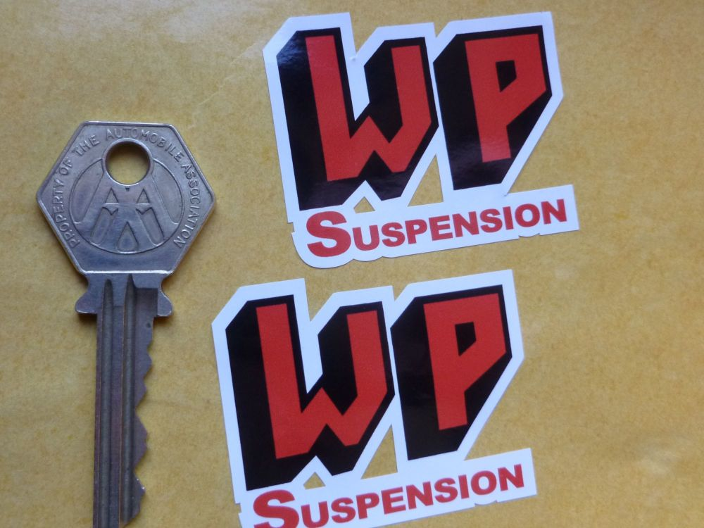 "WP Suspension Shaped Stickers. 2"" Pair."