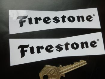 "Firestone 'Dicky Bow' Black & White Stickers. 5"" Pair."