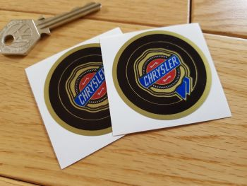 Chrysler Gold & Colour Circular Logo Stickers. 50mm Pair.