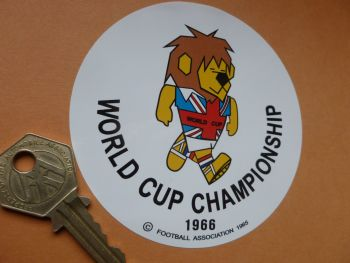 "World Cup Willie 1966 World Cup Championship Circular Body or Window Sticker. 3.75""."
