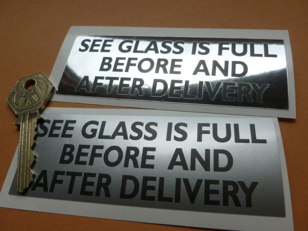 """See Glass Is Full Before & After Delivery. Beckmeter M50 Petrol Pump Sticker. 4.25"""""""