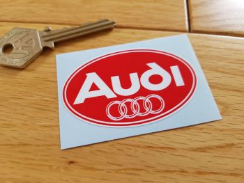 "Audi Small Red & White Oval Logo Sticker. 2.5""."