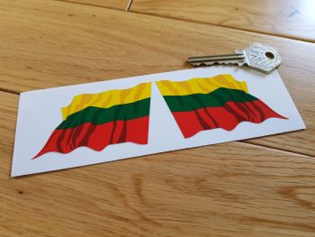 """Lithuanian Flag Wavy Flag of Lithuania Stickers. 3"""" Pair."""