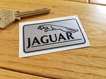 "Jaguar Black & Silver Oblong Logo Sticker. 2.25""."