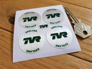 TVR England Green on Brushed Silver Foil Wheel Centre Stickers. Set of 4. 35mm.