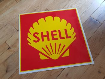 "Shell Red Square Sticker. 15""."