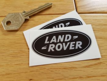 "Land Rover Old Style Oval Black & Silver Stickers. 2.5"" Pair."