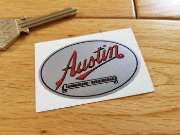 Austin Longbridge Birmingham Silver Sticker. 55mm.