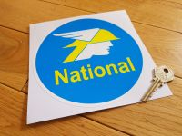 "National Benzole Round Sticker. 6.25""."
