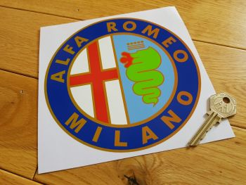 "Alfa Romeo Milano Circular Sticker. 6.25""."