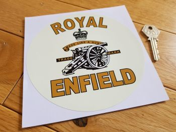 "Royal Enfield Made Like A Gun Round Sticker. 6""."