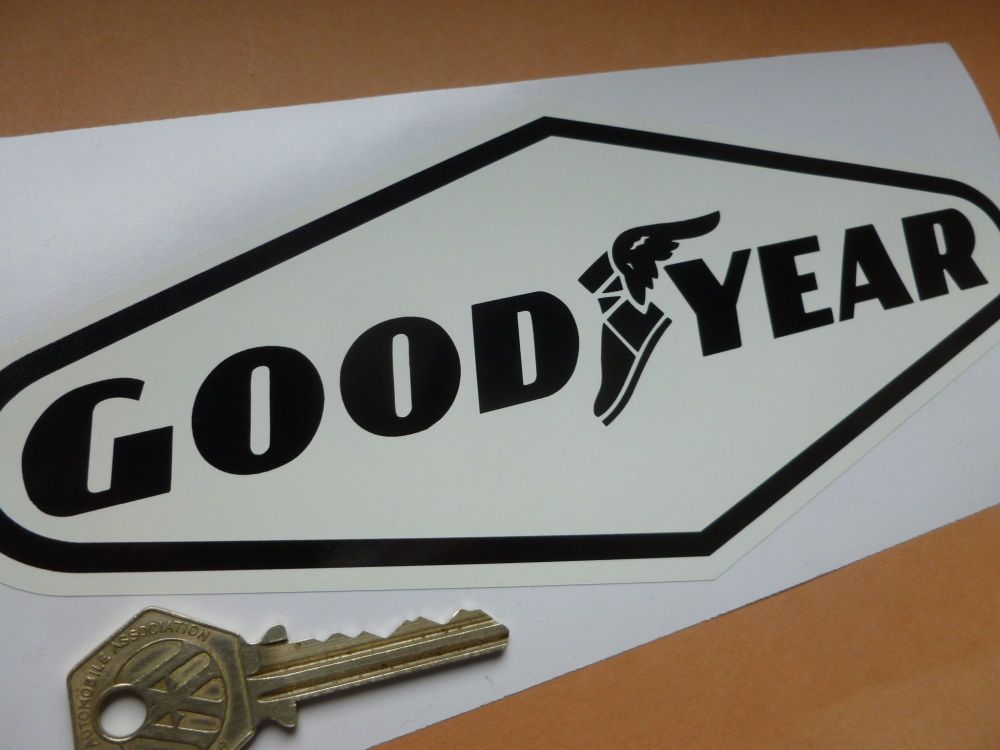 "Goodyear Black & Off-White Diamond Stickers. 9"" Pair."