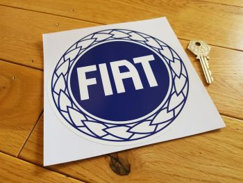 "Fiat Garland Style Dark Blue & White Round Sticker. 6""."