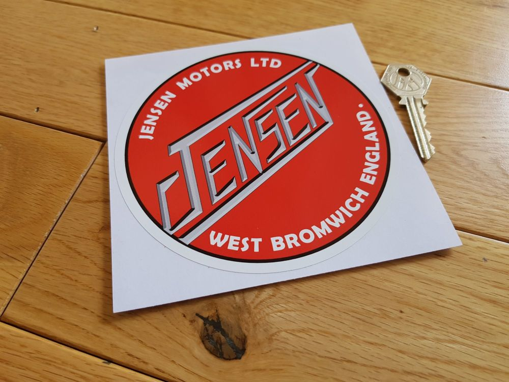 "Jensen Red Circular Logo Sticker. 5.25""."
