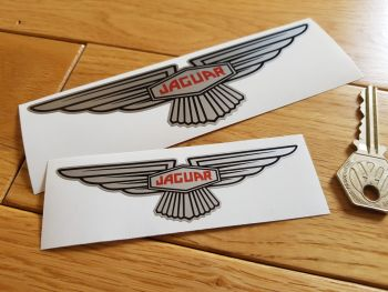 "Jaguar 'Slim' Wing Lozenge Silver Sticker. Sticky Backed. 4"" or 6""."