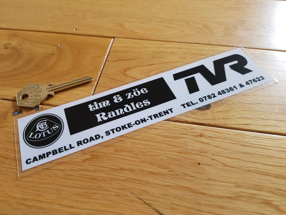 "Tim and Zoe Randles TVR & Lotus Stoke-on-Trent Dealer Sticker. 8""."
