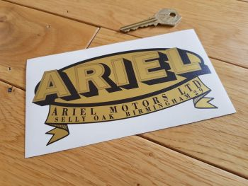 "Ariel Motors Ltd Oval & Banner Logo Black & Gold Sticker. 6""."