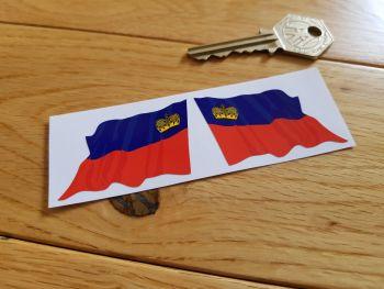 """Liechtenstein Flag Wavy Stickers. 2"""" Pair."""