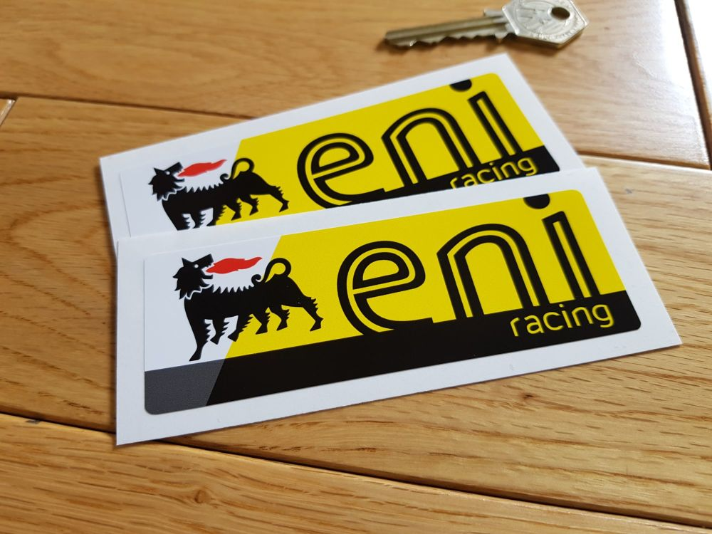 "Eni Racing Oblong Stickers. 4.5"" Pair."