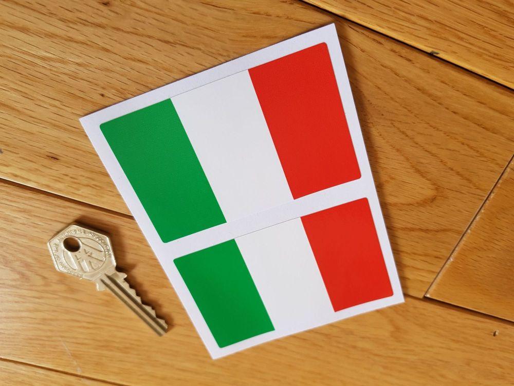 "Italian Flag Oblong Italy Stickers. 3"" Pair."