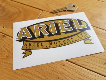 "Ariel Motors Ltd Oval & Banner Logo Black & Gold with White Detail Sticker. 6""."