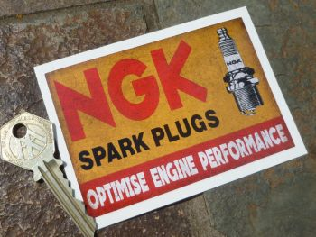 "NGK Spark Plugs 'Optimise Energy Performance' Distressed Style Oblong Sticker. 4""."