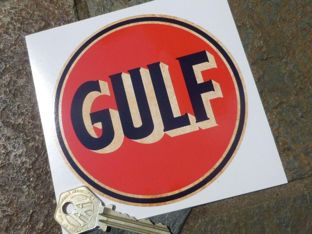 "Gulf Distressed Style Sticker. 4.25""."