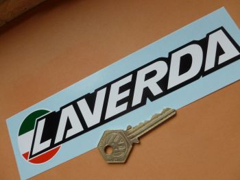"Laverda Printed and Shaped Logo Stickers. 7.5"" Pair."