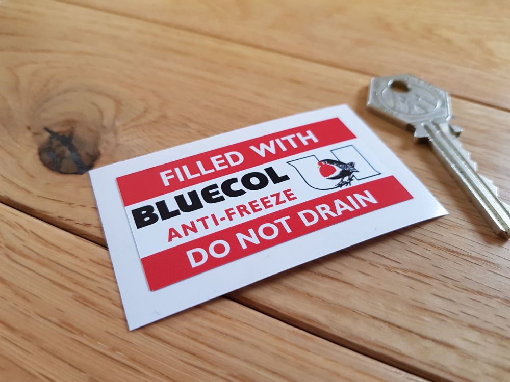 "Bluecol Anti-Freeze Red Style Radiator Sticker. 2.5""."