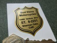 """Bud Ekins Motorcycles Sherman Oaks, California Dealer Sticker. 2""""."""