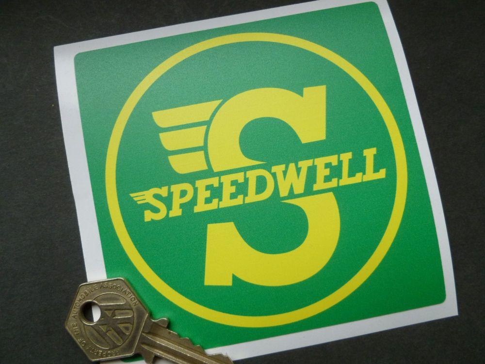 "Speedwell Yellow & Green Square Sticker. 4""."