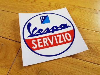"""Vespa Piaggio Circular 'Servizio' Sticker - 6"""" or 8"""""""