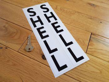 "Shell Vertical Black & White Oblong Stickers. 12"" Pair."