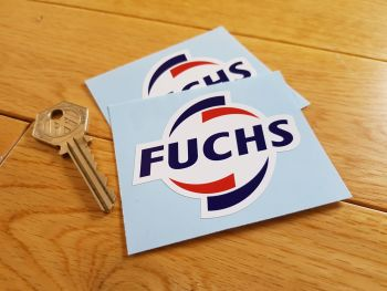 "Fuchs Shaped Logo Stickers. 3"" Pair."