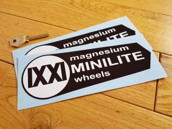 "Minilite Magnesium Wheels Black & White Shaped Stickers. 7.5"" Pair."
