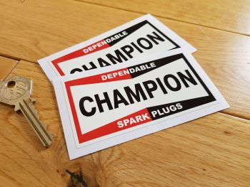 "Champion Spark Plugs 'Dependable' Off-White Oblong Stickers. 4"" Pair."