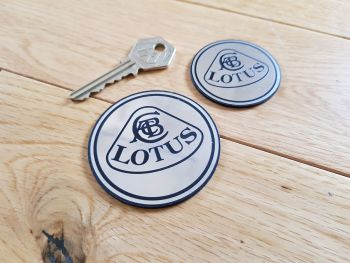 Lotus Round Badge Style Silver Self Adhesive Car Badge. 47mm or 60mm.