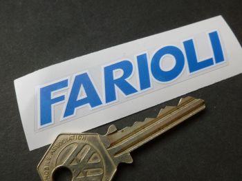 """Farioli Blue & White Text Sticker. 3""""."""