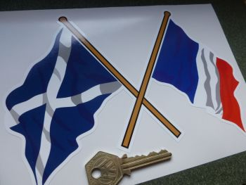 "Crossed Scottish Saltire & French Tricolore Flag Sticker. 8""."