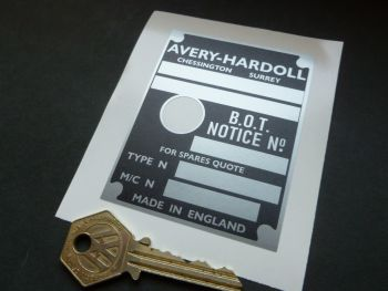 Avery-Hardoll BOT Notice Blank Petrol Pump Sticker. 85mm.