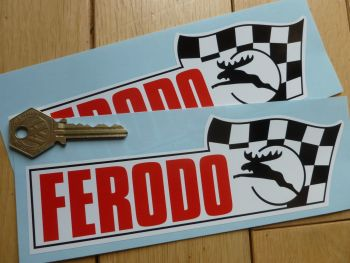 "Ferodo Moose/Stag & Flag Black & Red Shaped Stickers. 8"" Pair."